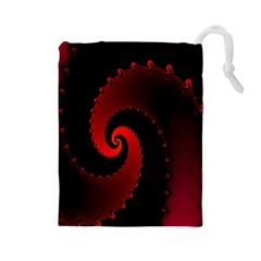 Red Fractal Spiral Drawstring Pouches (Large)