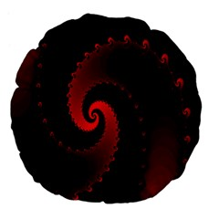 Red Fractal Spiral Large 18  Premium Flano Round Cushions