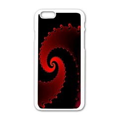 Red Fractal Spiral Apple iPhone 6/6S White Enamel Case