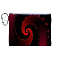 Red Fractal Spiral Canvas Cosmetic Bag (xl)