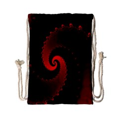 Red Fractal Spiral Drawstring Bag (small)