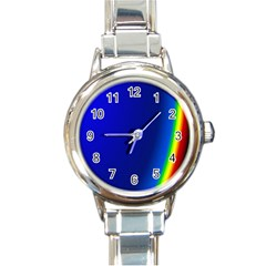 Blue Wallpaper With Rainbow Round Italian Charm Watch