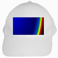 Blue Wallpaper With Rainbow White Cap