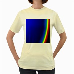 Blue Wallpaper With Rainbow Women s Yellow T-Shirt