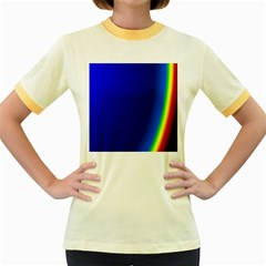 Blue Wallpaper With Rainbow Women s Fitted Ringer T-Shirts
