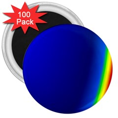 Blue Wallpaper With Rainbow 3  Magnets (100 Pack)