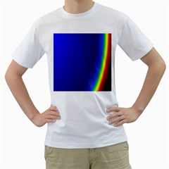 Blue Wallpaper With Rainbow Men s T Shirt (white) (two Sided)
