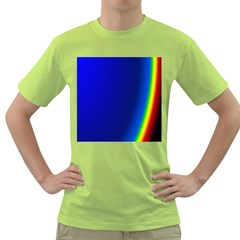 Blue Wallpaper With Rainbow Green T-Shirt
