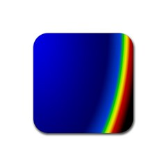 Blue Wallpaper With Rainbow Rubber Coaster (Square)