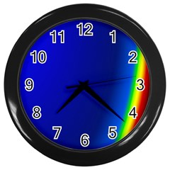 Blue Wallpaper With Rainbow Wall Clocks (black)