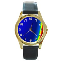 Blue Wallpaper With Rainbow Round Gold Metal Watch