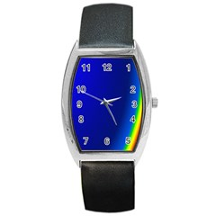 Blue Wallpaper With Rainbow Barrel Style Metal Watch