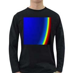 Blue Wallpaper With Rainbow Long Sleeve Dark T-Shirts