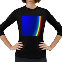 Blue Wallpaper With Rainbow Women s Long Sleeve Dark T-Shirts