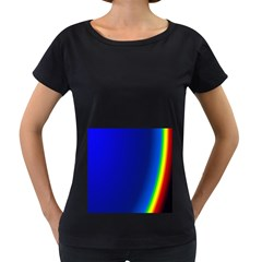 Blue Wallpaper With Rainbow Women s Loose-Fit T-Shirt (Black)