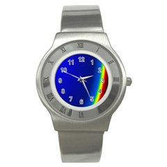 Blue Wallpaper With Rainbow Stainless Steel Watch