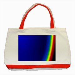 Blue Wallpaper With Rainbow Classic Tote Bag (Red)