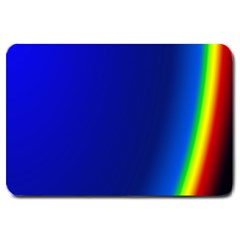 Blue Wallpaper With Rainbow Large Doormat