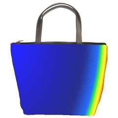 Blue Wallpaper With Rainbow Bucket Bags