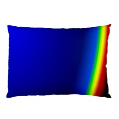 Blue Wallpaper With Rainbow Pillow Case
