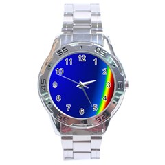 Blue Wallpaper With Rainbow Stainless Steel Analogue Watch