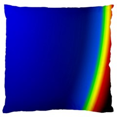 Blue Wallpaper With Rainbow Large Cushion Case (two Sides)