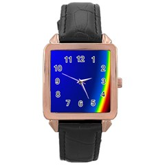 Blue Wallpaper With Rainbow Rose Gold Leather Watch