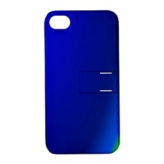 Blue Wallpaper With Rainbow Apple Iphone 4/4s Hardshell Case With Stand