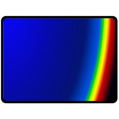 Blue Wallpaper With Rainbow Double Sided Fleece Blanket (Large)