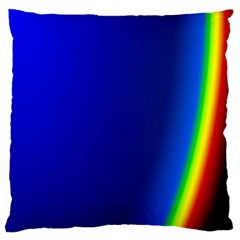Blue Wallpaper With Rainbow Large Flano Cushion Case (One Side)