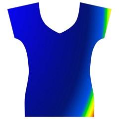 Blue Wallpaper With Rainbow Women s V-Neck Cap Sleeve Top