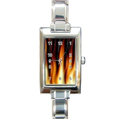 Dark Flame Pattern Rectangle Italian Charm Watch