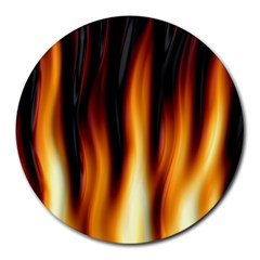 Dark Flame Pattern Round Mousepads