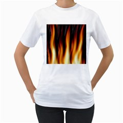 Dark Flame Pattern Women s T Shirt (white) (two Sided)