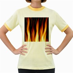 Dark Flame Pattern Women s Fitted Ringer T Shirts