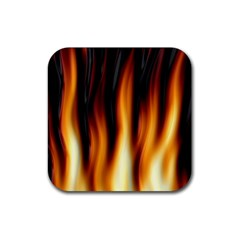 Dark Flame Pattern Rubber Square Coaster (4 Pack)