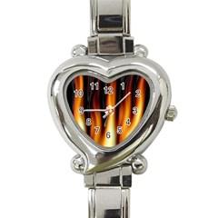 Dark Flame Pattern Heart Italian Charm Watch