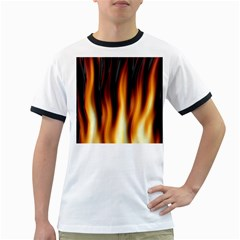 Dark Flame Pattern Ringer T Shirts