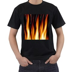 Dark Flame Pattern Men s T Shirt (black) (two Sided)