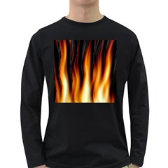 Dark Flame Pattern Long Sleeve Dark T Shirts