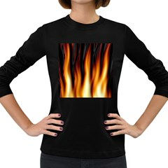 Dark Flame Pattern Women s Long Sleeve Dark T-Shirts