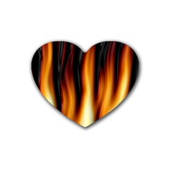 Dark Flame Pattern Rubber Coaster (heart)