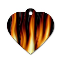 Dark Flame Pattern Dog Tag Heart (One Side)