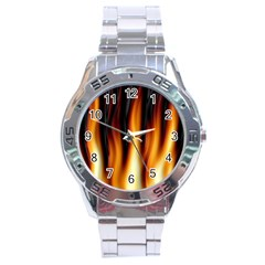 Dark Flame Pattern Stainless Steel Analogue Watch