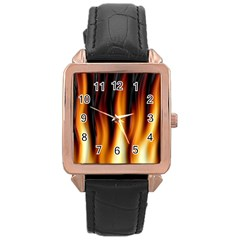 Dark Flame Pattern Rose Gold Leather Watch