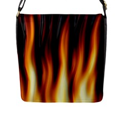 Dark Flame Pattern Flap Messenger Bag (L)