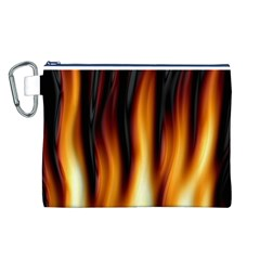 Dark Flame Pattern Canvas Cosmetic Bag (l)