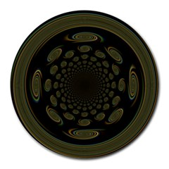 Dark Portal Fractal Esque Background Round Mousepads