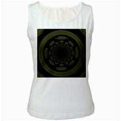 Dark Portal Fractal Esque Background Women s White Tank Top
