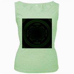 Dark Portal Fractal Esque Background Women s Green Tank Top
